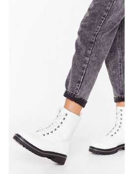 Too Stud At Goodbyes Faux Leather Lace Up Boots by Nasty Gal
