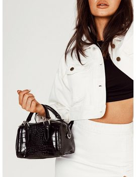Peta & Jain Rylee Mini Bowler Bag Black Croc by Peta And Jain