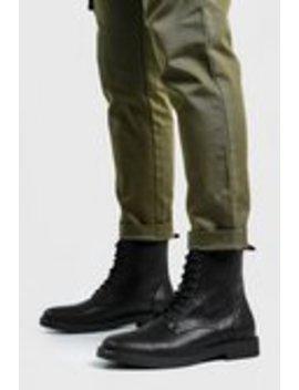 Crackle Pu Chunky Sole Military Boot by Boohoo Man