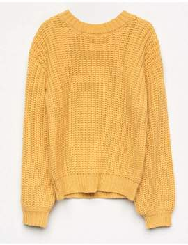 White Fawn Mock Neck Mustard Girls Sweater by White Fawn