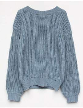 White Fawn Mock Neck Light Blue Girls Sweater by White Fawn