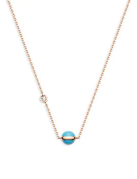 Possession 18 K Rose Gold, Turquoise & Diamond Pendant Necklace by Piaget