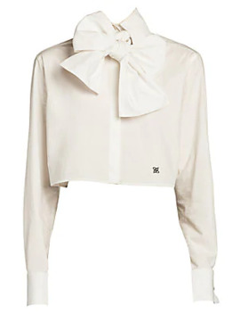 Bow Detail Monogrammed Crop Blouse by Fendi