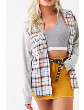 Combo Plaid Flannel Hooded Shirt by Forever 21