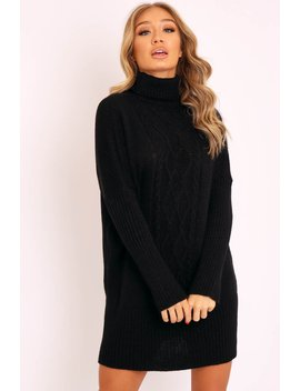 Black Oversized Knitted Turtle Neck Jumper Dress   Freyah by Rebellious Fashion