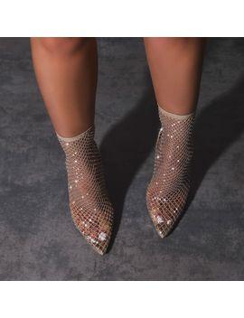 Vakili Diamante Detail Fishnet Heel In Nude by Ego
