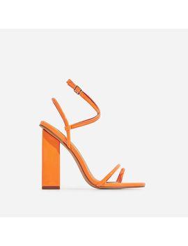 Bello Bee Toe Strap Block Heel In Orange Patent by Ego