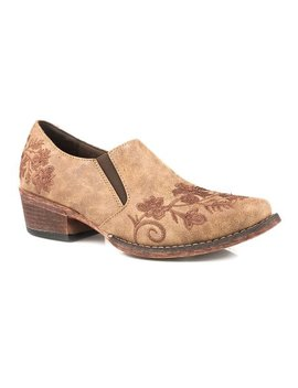 Vintage Tan Embroidered Floral Ankle Boot   Women by Roper