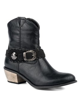 Black Burnished Ankle Boot   Women by Roper