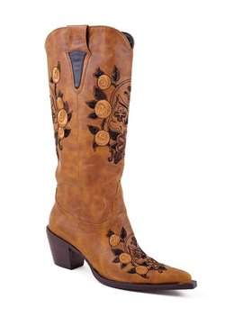 Tan Skull Embroidered Pointed Cowboy Boot   Women by Roper