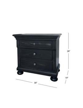 Abbyson Hendrick Distressed Black Solid Wood Three Drawer Nightstand by Abbyson