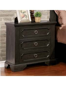 Hollen Transitional Wire Brushed Black 3 Drawer Nightstand By Foa by Furniture Of America