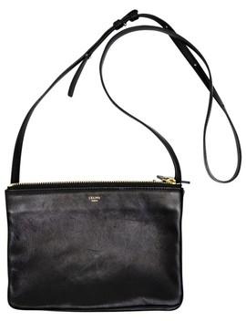 Trio Black Lambskin Leather Cross Body Bag by Céline