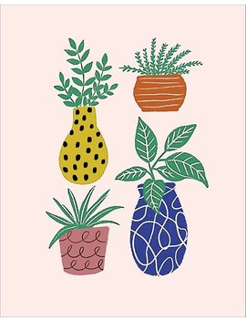 Funky Plants Large Art Print by Paper Source