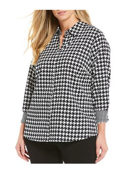 Plus Size Ava Sateen Houndstooth Cotton Wrinkle Free Shirt by Foxcroft