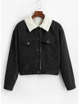 Hot Zaful Fuzzy Corduroy Jacket   Black S by Zaful