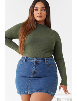 Plus Size Ribbed Mock Neck Top by Forever 21