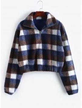Hot Plaid Crop Faux Fur Sweatshirt   Multi D S by Zaful