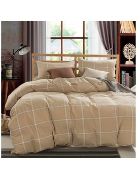 "Copper Grove Gyumri Cotton Plaid Windowpane Check 3 Piece Duvet Cover Set   Camel   King (102"" X 90"") by Copper Grove"