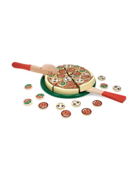 Play Wooden Pizza With Toppings And Utensils by Melissa & Doug