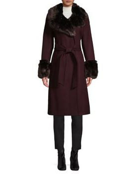 Faux Fur Trim Belted Wool Blend Long Coat by French Connection