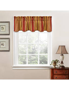 Traditions By Waverly Stripe Ensemble Scalloped Window Curtain Valance by Traditions By Waverly