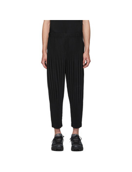 Black Pleated Basics Trousers by Homme PlissÉ Issey Miyake