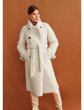 Длинное пальто с искусственной овчиной by Mango