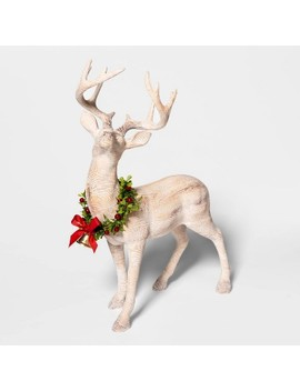 "19.4"" X 7.1"" Wooden Standing Deer Figurine With Wreath Natural   Threshold™ by Shop This Collection"