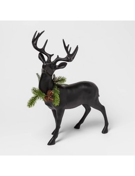 "19.6"" X 7.4"" Resin Standing Deer Figurine With Wreath Black   Threshold™ by Threshold"
