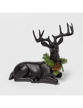 "12.9"" X 6.2"" Resin Sitting Deer Figurine With Wreath Black   Threshold™ by Threshold"