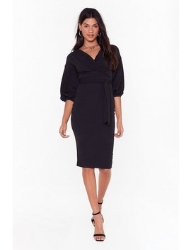 Wrap To Attention Balloon Sleeve Midi Dress by Nasty Gal