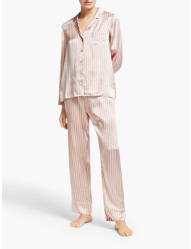 John Lewis & Partners Nicky Stripe Silk Pyjama Set, Soft Pink by John Lewis & Partners