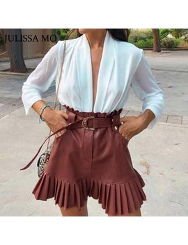 Julissa Mo Black Sash Belt Pu Skirts Winter Elegant Ruffled High Waist A Line Skirts Women Fashion Pleated Faux Leather Skirt by Ali Express.Com