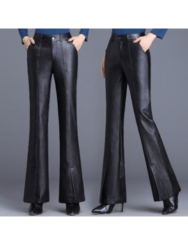 Women's Bell Bottom Pants High Waist Slim Slimming Pu Leather Micro Bell Pants 2019 New Autumn Korean Casual Wild Trousers by Ali Express.Com