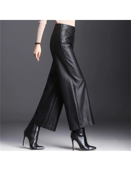 Leather Pants Women's New High Waist Nine Points Wide Leg Pants Autumn And Winter Loose Pu Leather Trousers Was Thin Large Size by Ali Express.Com