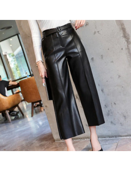 Autumn Faux Pu Leather Pants Women With Belt High Waisted Wide Leg Anke Length Women's Trousers 2019 Winter New Fashion Clothes by Ali Express.Com
