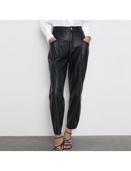 Fandy Lokar Faux Leather Pants Women Fashion Pu Leather Loose Trousers Women Elegant Pockets Zipper Button Pant Female Ladies Ir by Ali Express.Com