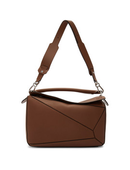 Brown Large Puzzle Bag by Loewe