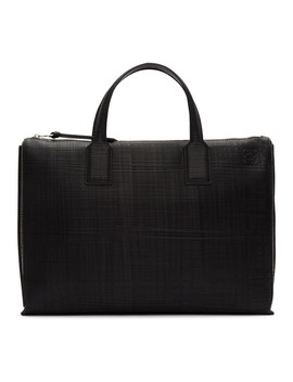 Black Textured Goya Simple Briefcase by Loewe