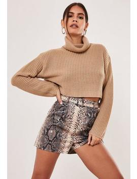 Petite Sand Roll Neck Cropped Jumper by Missguided