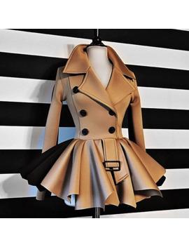 Women Autumn Winter Coat Long Sleeve Ruffles Khaki Black Top Coat Double Breasted Jackets by Ali Express.Com