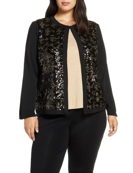 Sequin Front Knit Jacket by Ming Wang