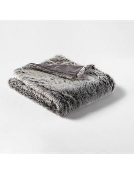 Faux Fur Throw Neutral/Gray   Threshold™ by Threshold