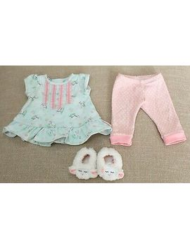 American Girl Bitty Baby Lambie Pajamas + Slippers Doll Pink Outfit Excellent by American Girl