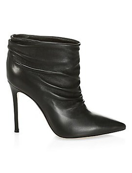 Cyril Ruched Leather Ankle Boots by Gianvito Rossi