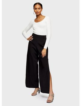 Black Side Split Wide Leg Trousers by Miss Selfridge
