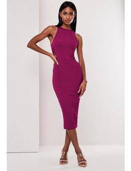 Premium Purple High Neck Bandage Midi Dress by Missguided