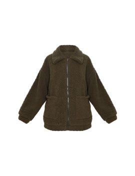 Khaki Soft Touch Borg Zip Through Jacket by Prettylittlething