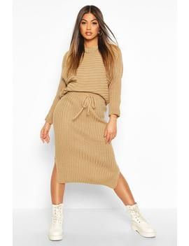 Knitted Oversized Jumper & Midi Skirt Co Ord by Boohoo